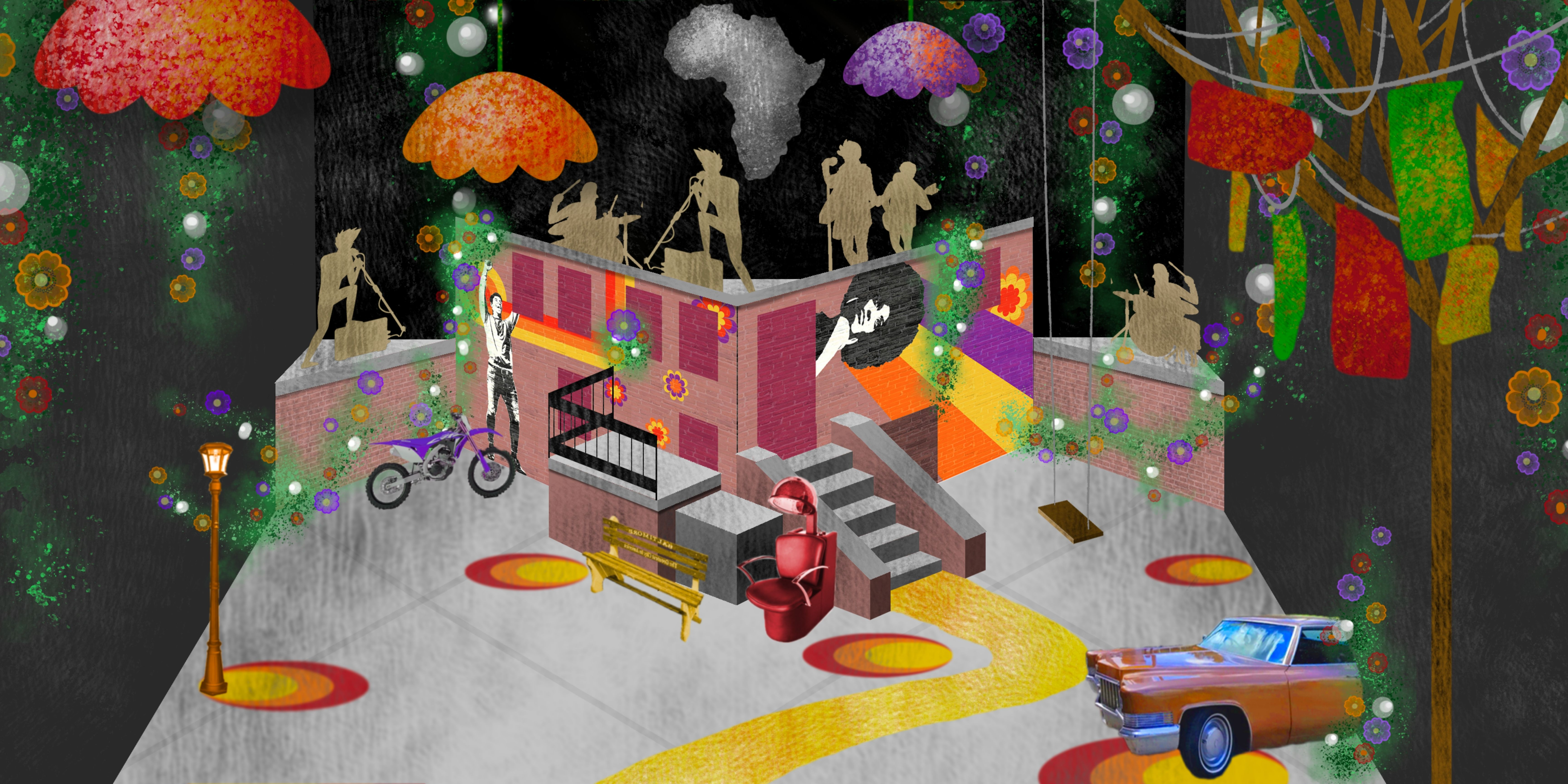 an urban floral fantasy set with musicians on a colorful geometric stage