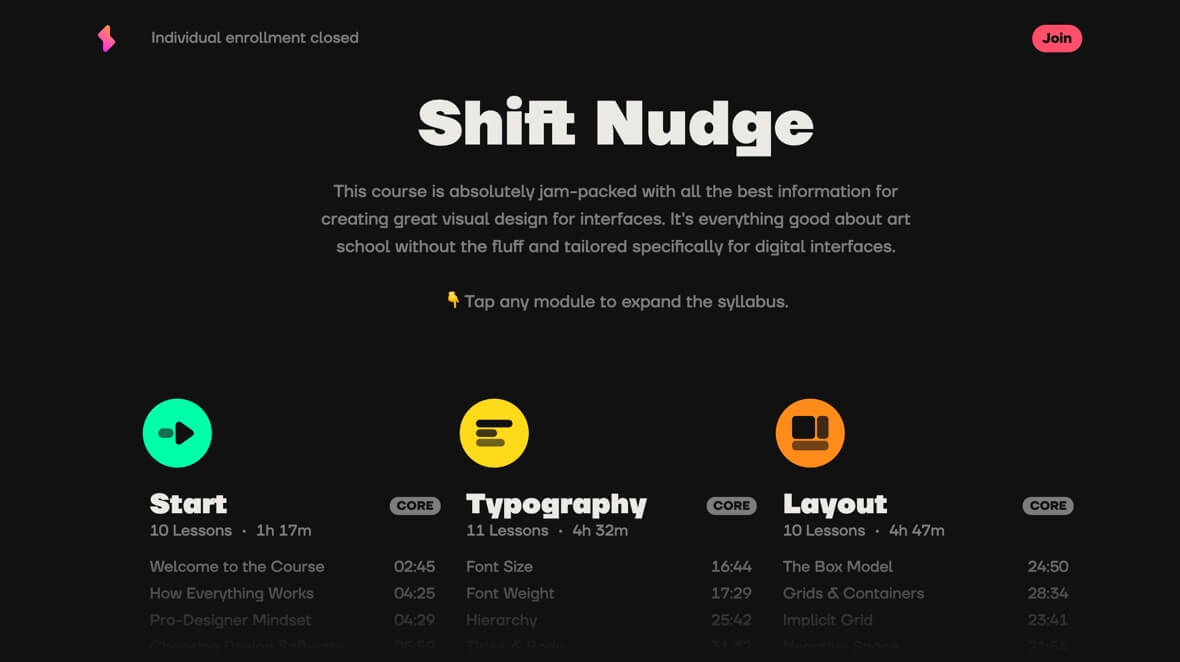 Learn UI design with Shift Nudge
