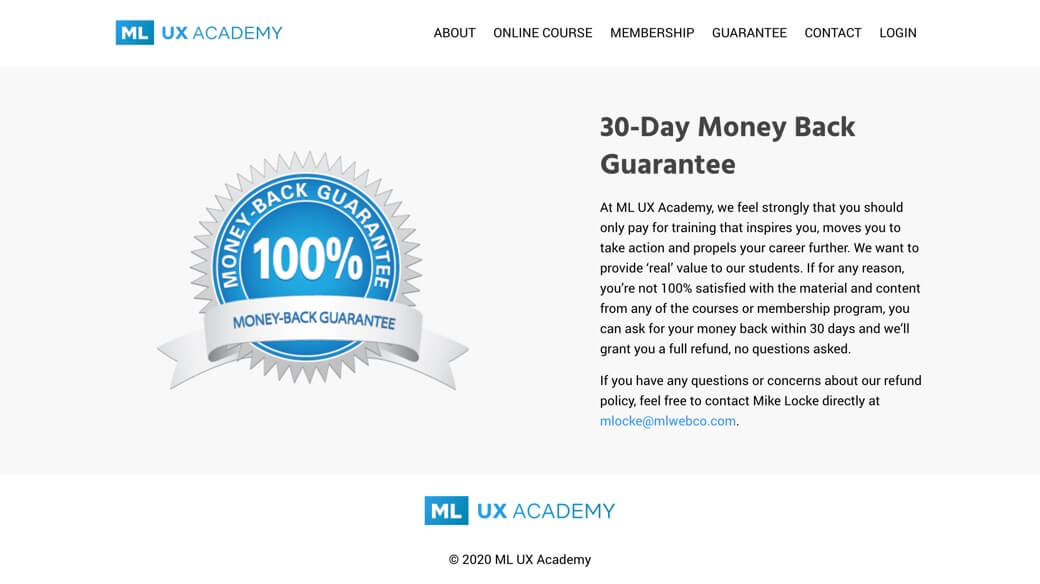 ML UX Academy 30 day money back guarantee