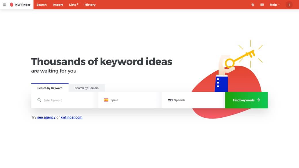 KWFinder find keywords