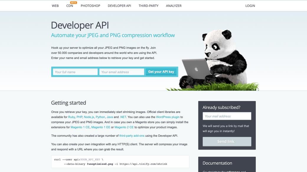 TinyPNG developer API