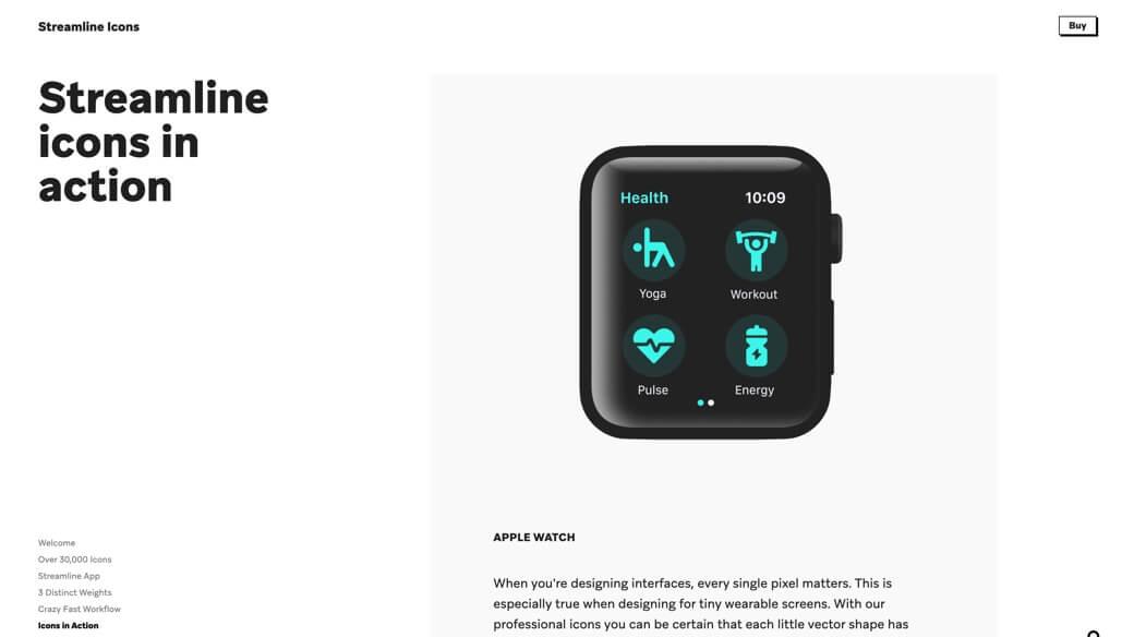 Streamline icons in Apple Watch