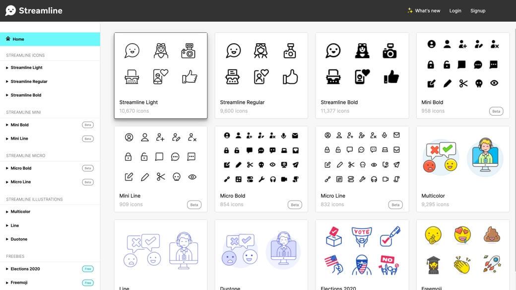 Streamline icons dashboard