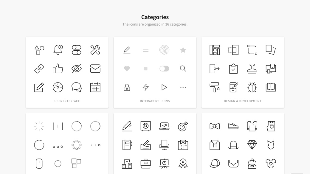 Nucleo icons categories