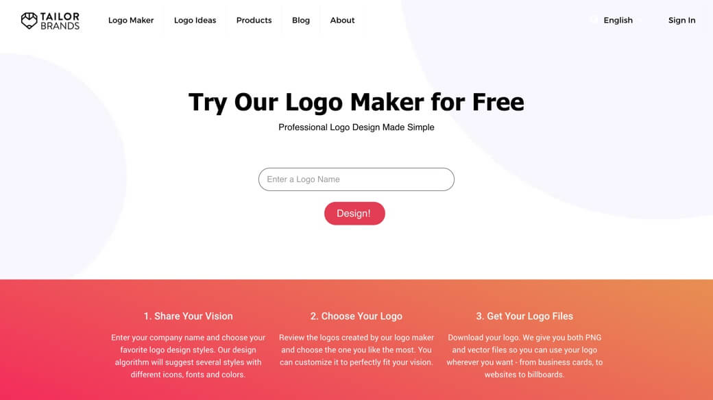 Create logo with Tailor Brands