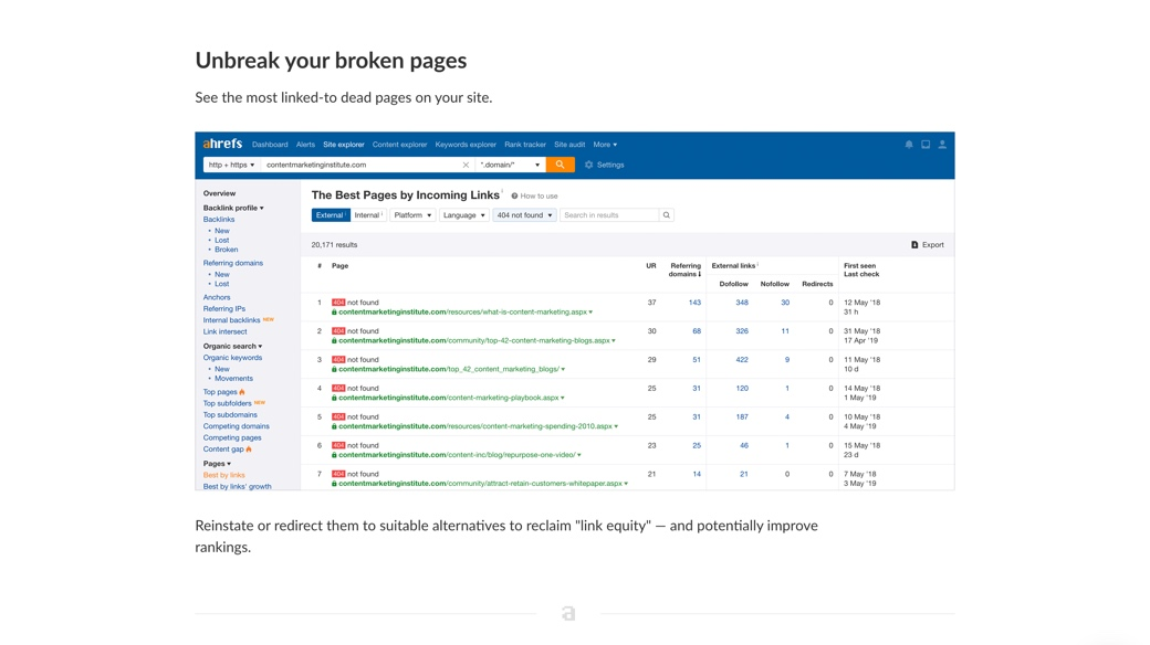 Broken links report