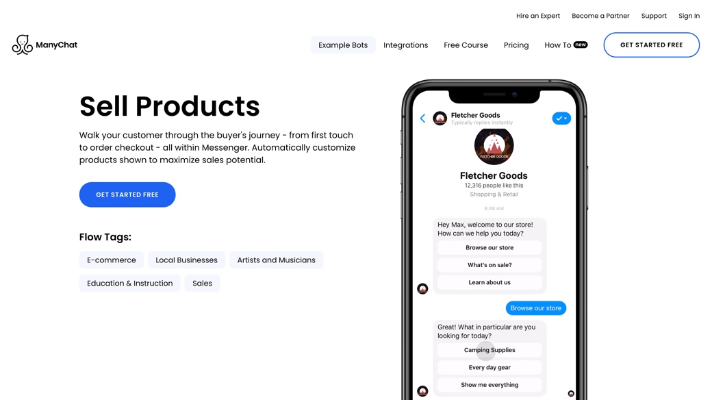 Sell products with chatbots