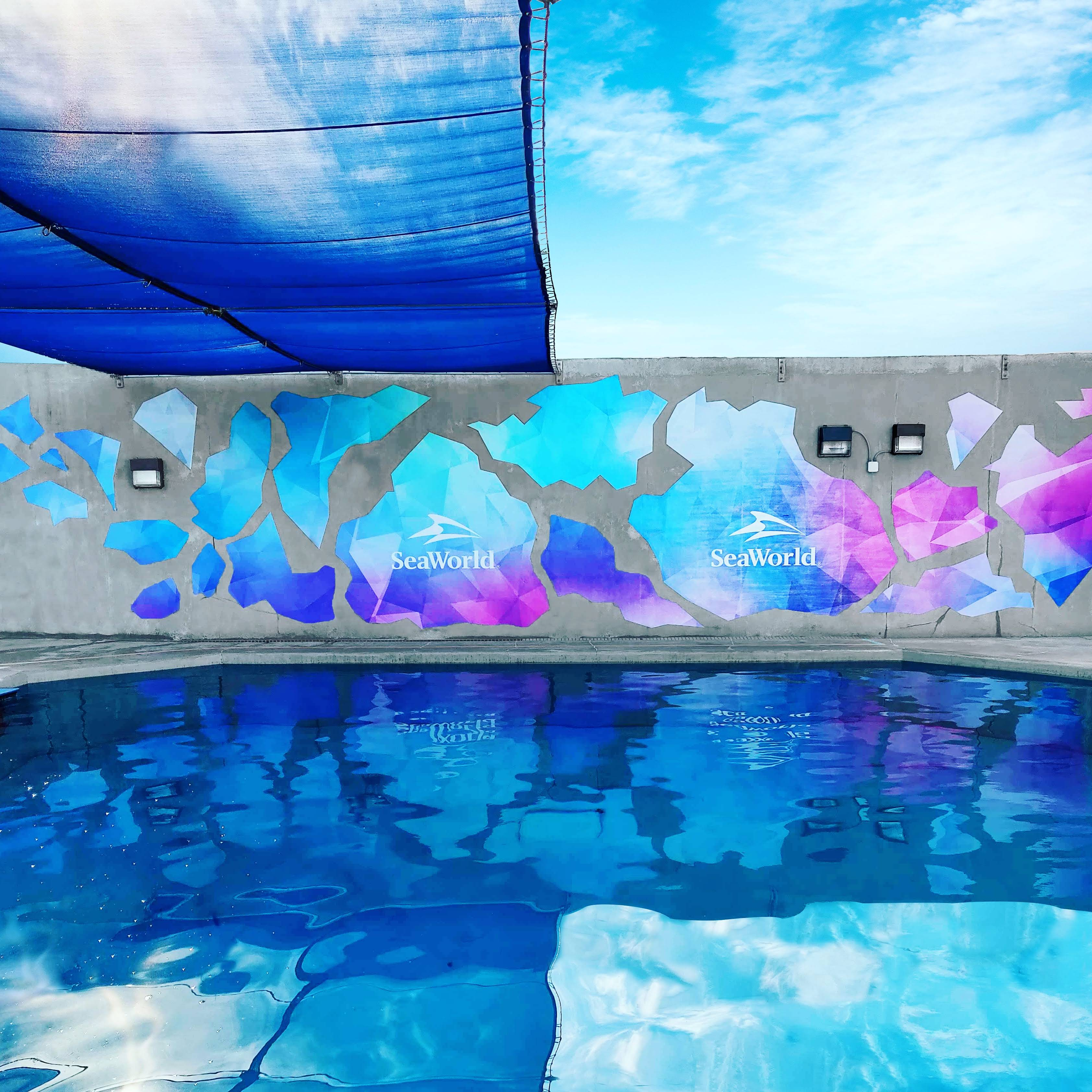 A Vinyl mural meant to look like colorful ice in the beluga exhibit