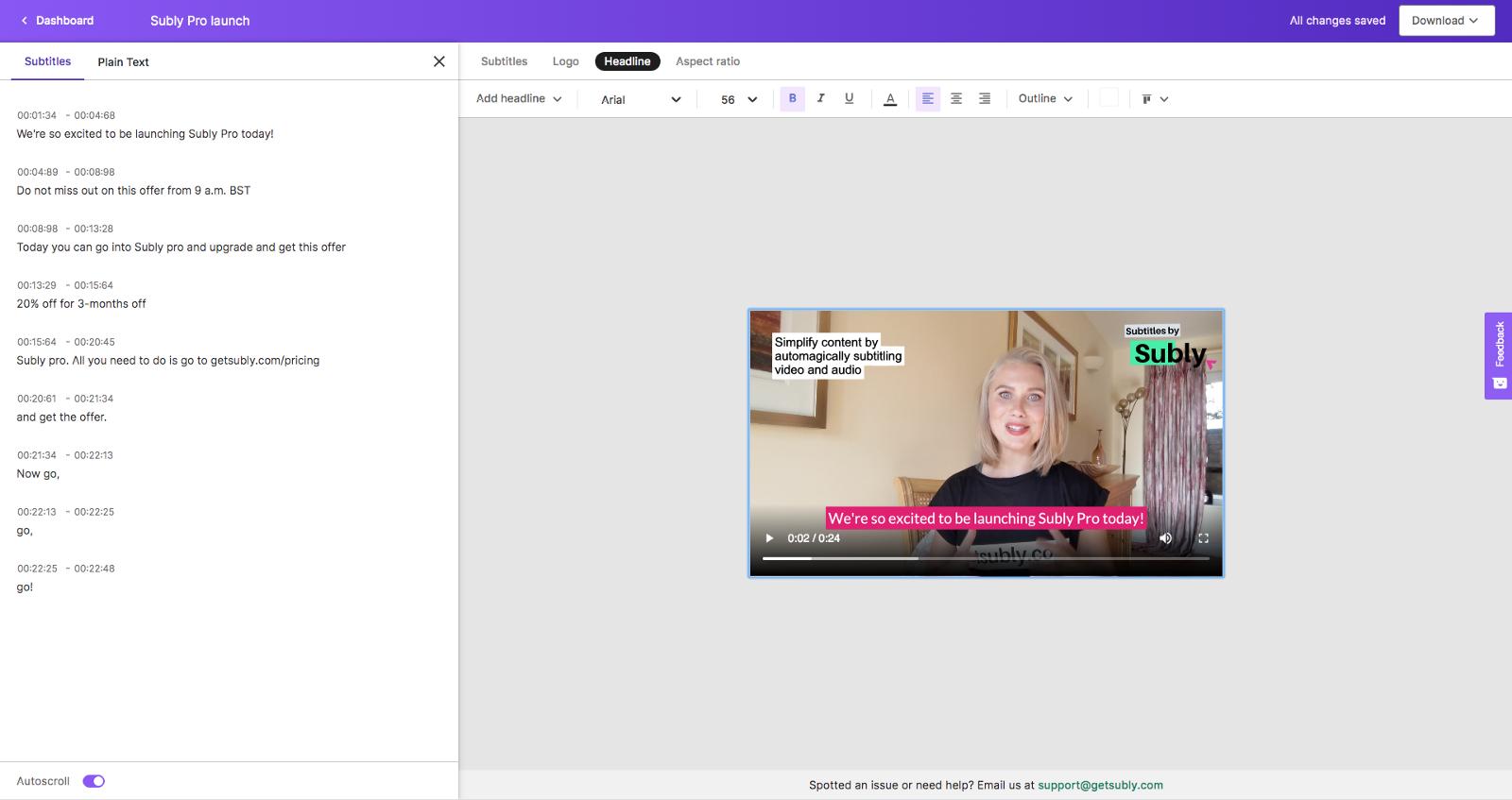 Subly editor screenshot showing subtitle editing screen