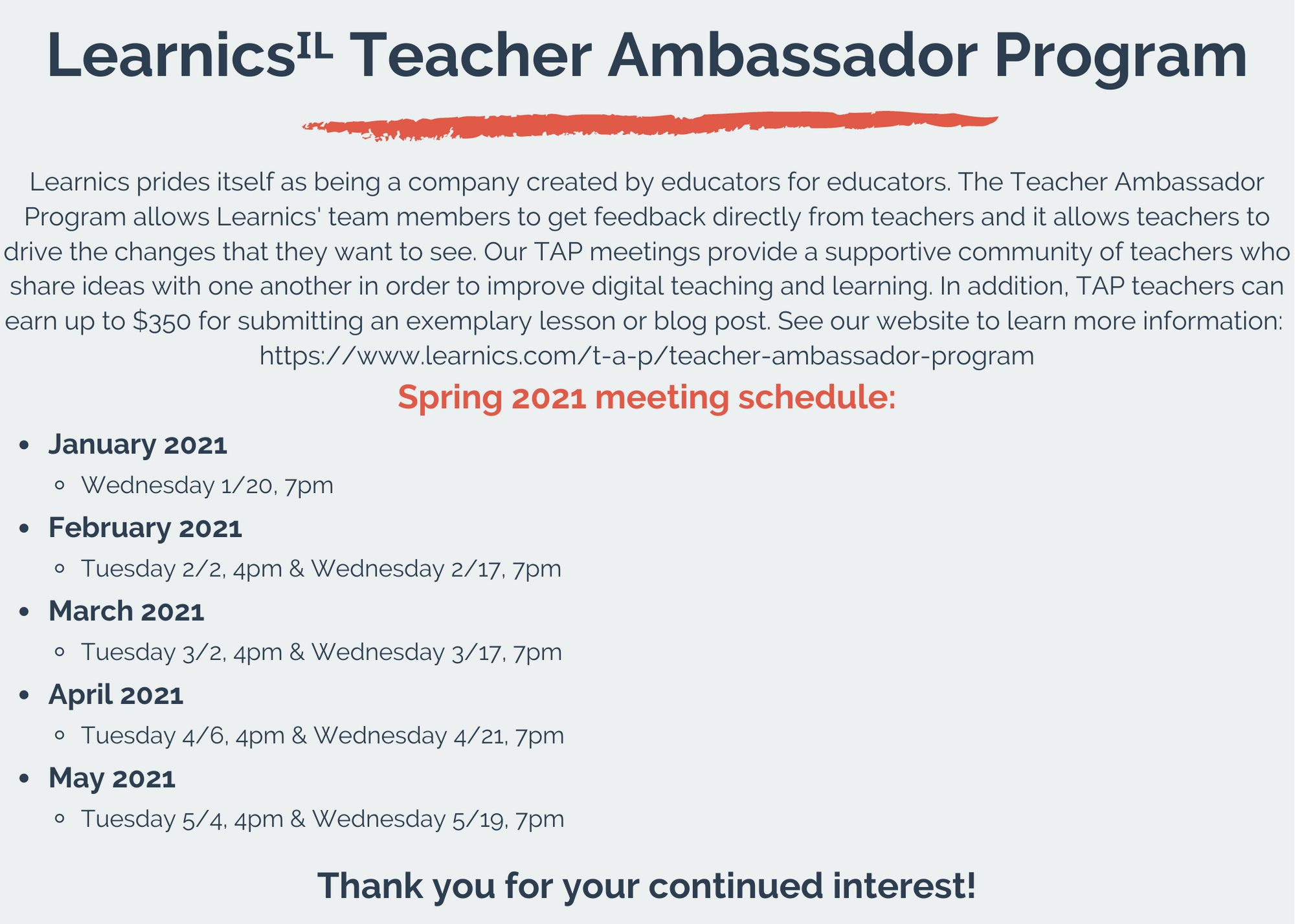 Learnics TAP meeting schedule