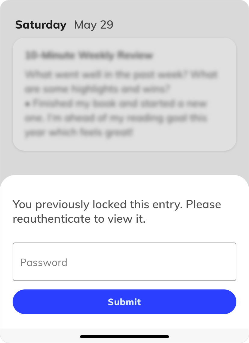 Re-authentication to unlock entry-level security lock