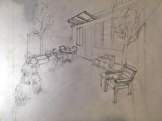 Pencil Drawn Patio Rendering