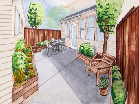 Colored in patio drawing