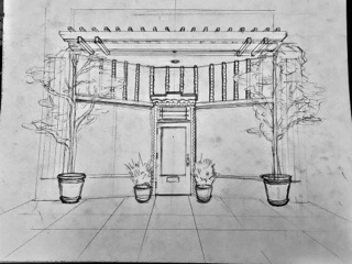 Pencil drawing of store-front