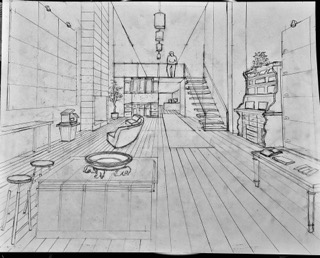 Pencil drawing of office
