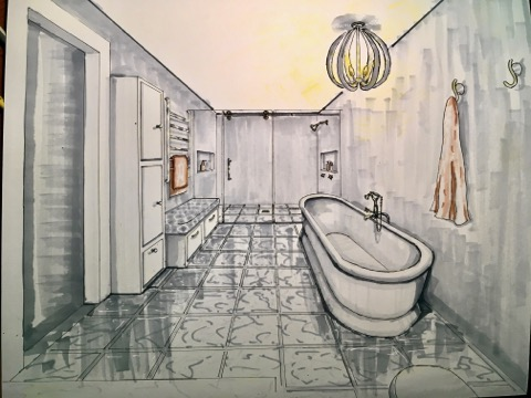Colored bathroom hand drawing