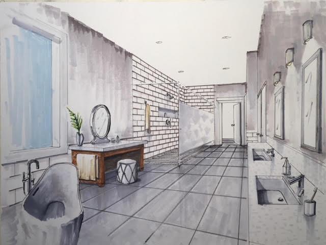 Colored bathroom rending