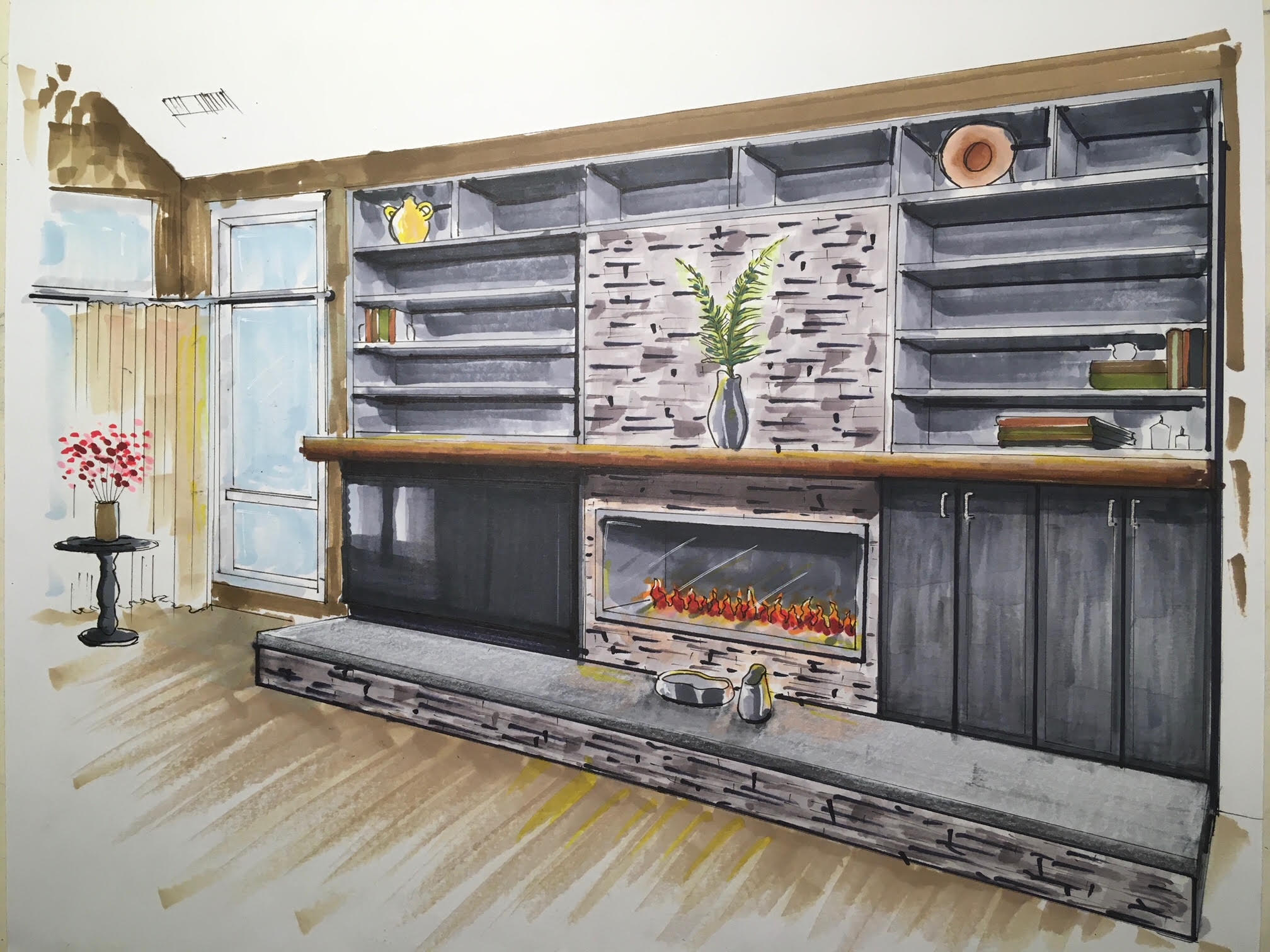 Colored hand drawn rending of fireplace