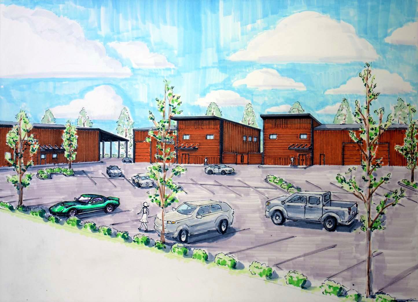 custom hand-drawn rendering of new fackler construction office