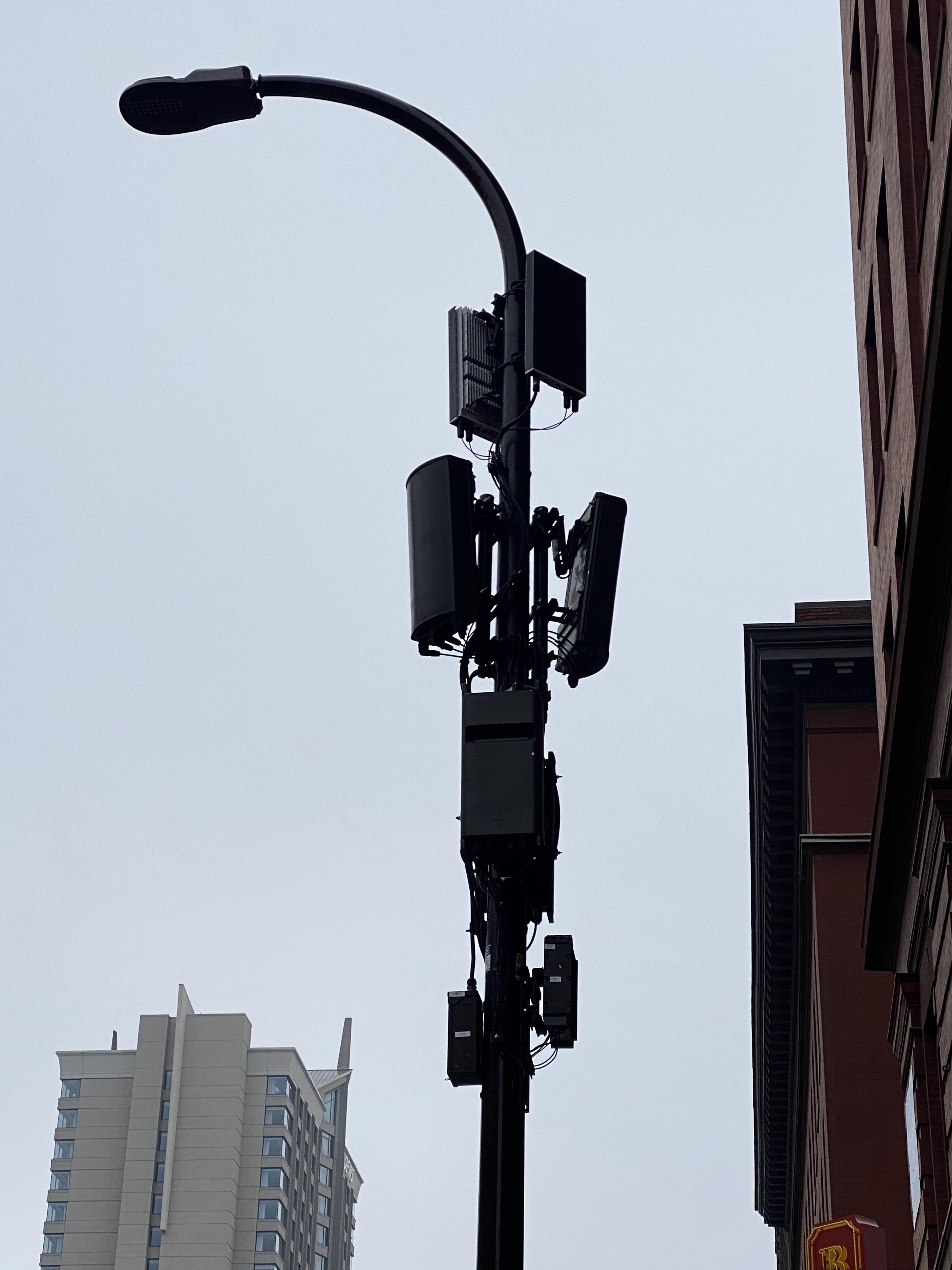 Gunfire Sensors Mounted On Light Pole