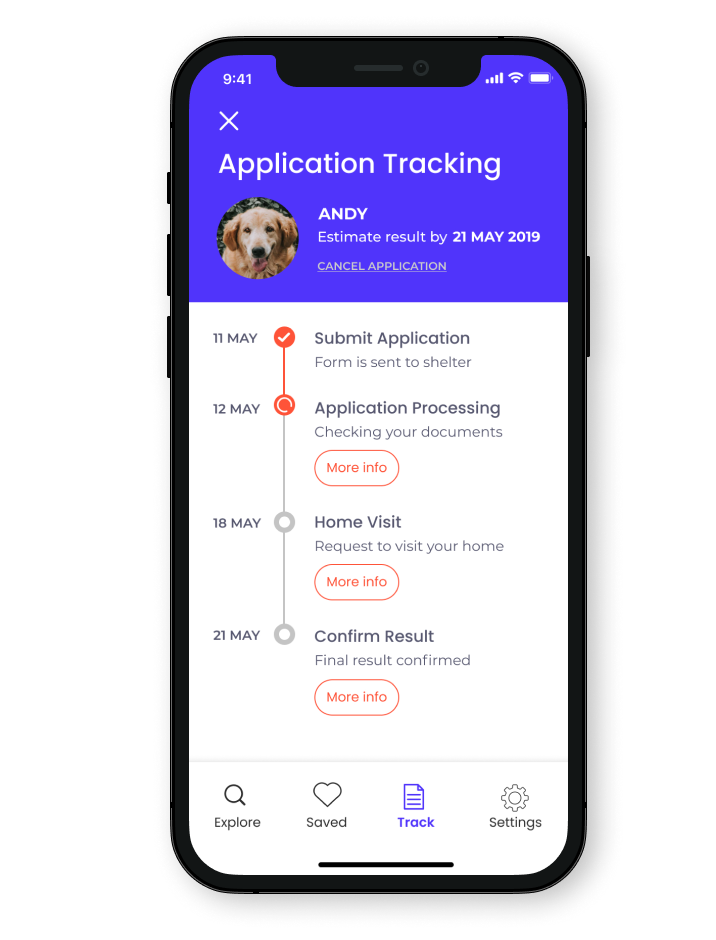 A phone that show an app that have a title say application tracking, an image of a dog and a tracker