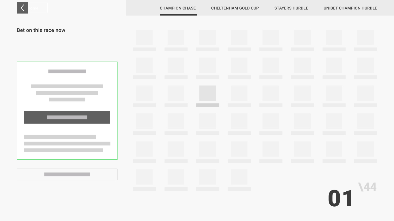 Conversion page wireframe design showing the construction of the page