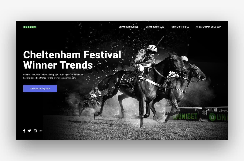 Homepage design of the Cheltenham Festival Dashboard for Unibet