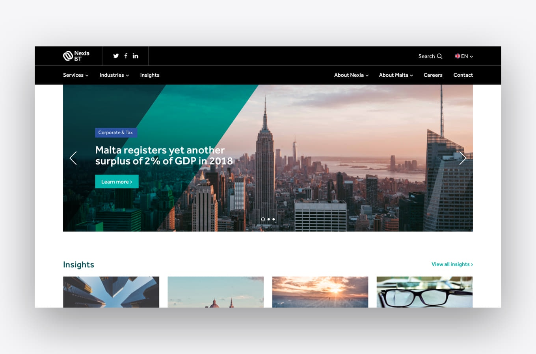 Homepage design preview of Nexia BT
