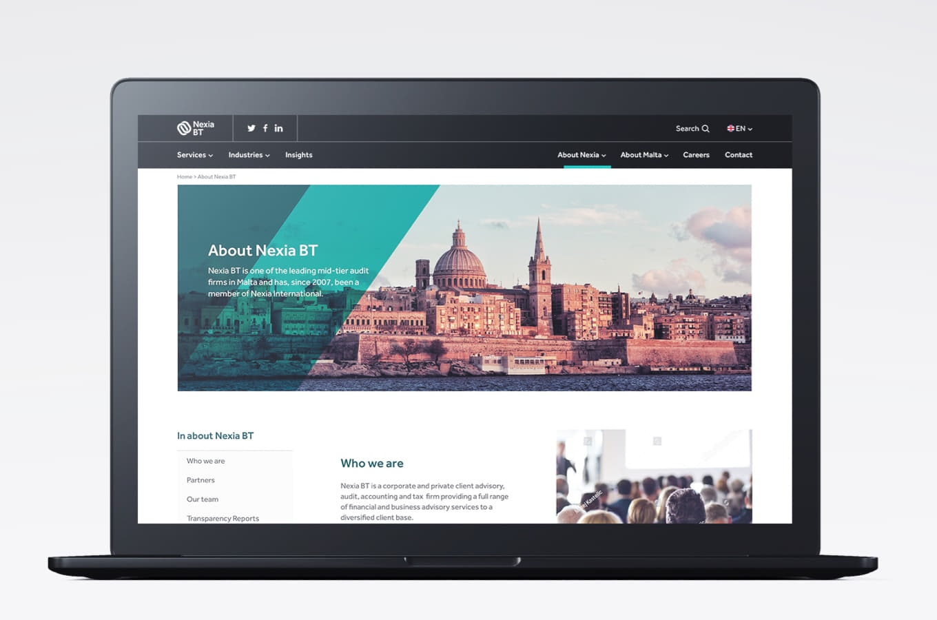 Desktop mock-up of the about Nexia BT page
