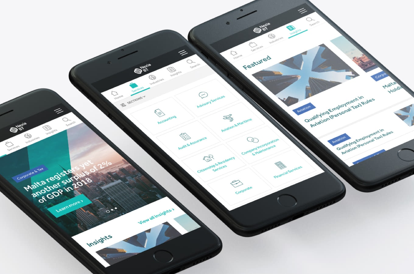 Collection of iPhone mock-ups showing the Nexia BT website final designs