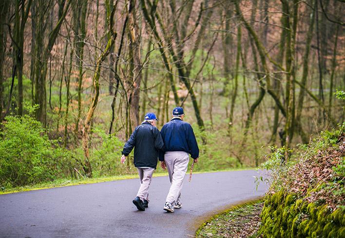 An elderly couple walking in the park