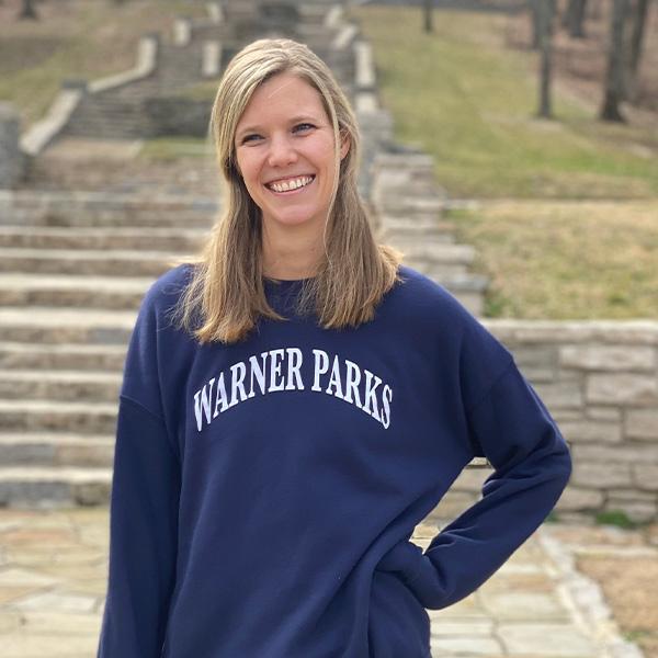A person wearing Friends of Warner Parks sweatshirt