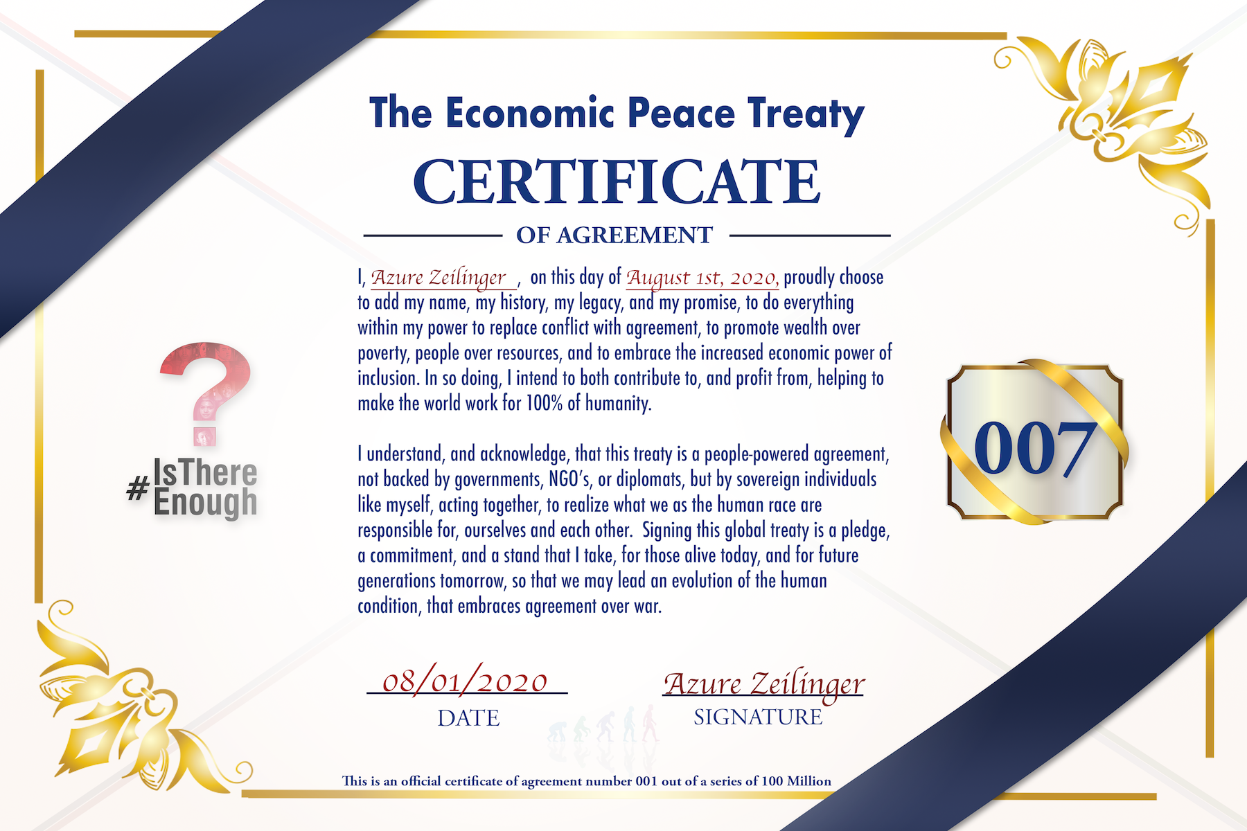 Economic Peace Treaty Certificate