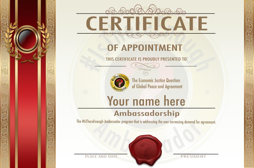 Certificates for Ambassadorship