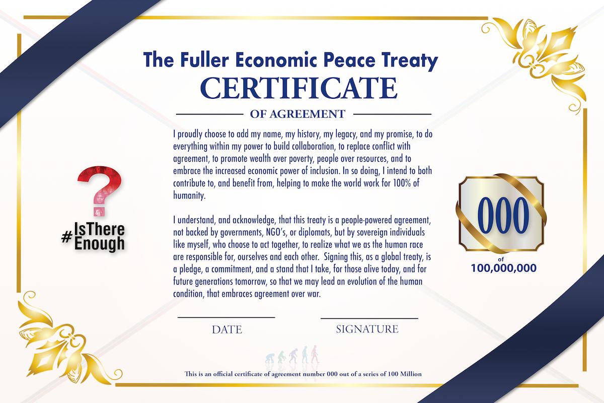 Economic Peace Treaty Certificate