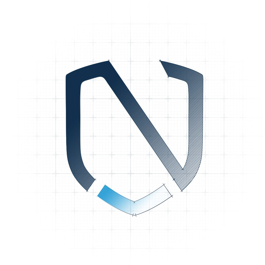 noventive logo as a blueprint
