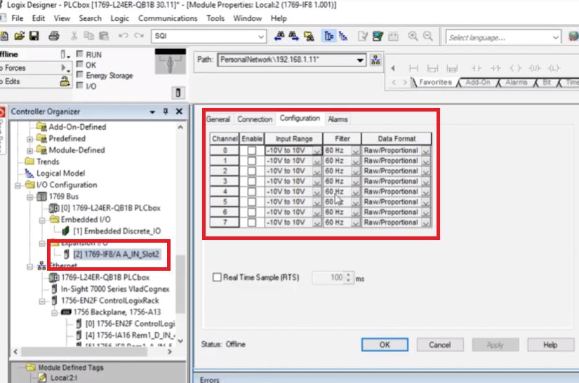 PLC Programming | CompactLogix 1769-IF8 Analog Input Module RSLogix 5000 Configuration tutorial Settings