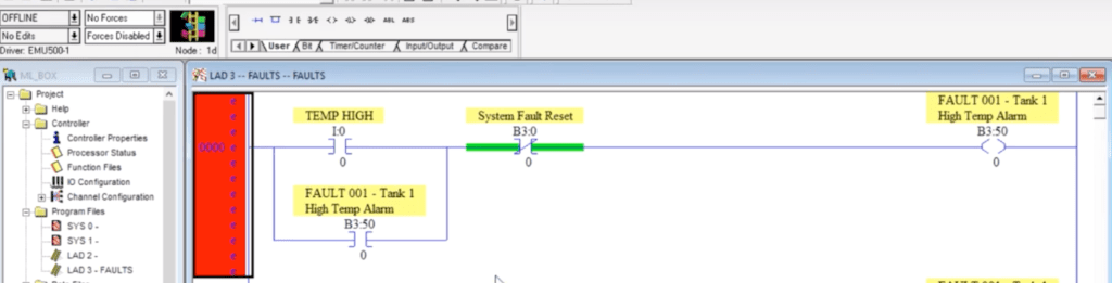 PLC Alarm Programming - Fault Capturing Example in Ladder Logic RSLogix 500 Allen Bradley
