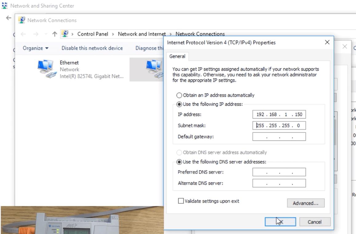 Setting IP address of PLC PC Network Card