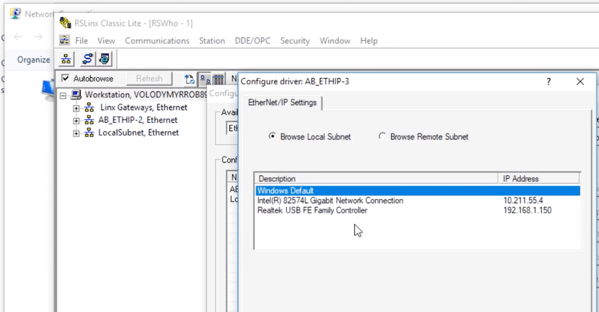 RSLinx EtherNet/IP Driver Local Subnet