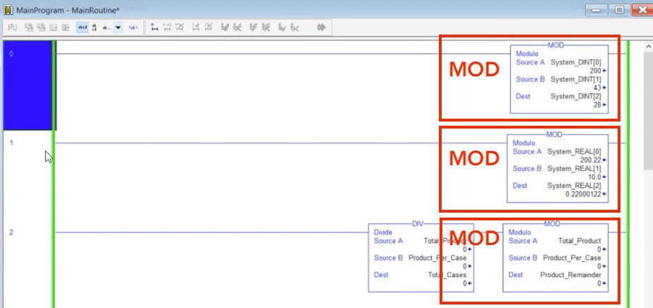 MOD Modulo Instruction RSLogix 500 5000 Studio Tutorial Ladder Logix Programming