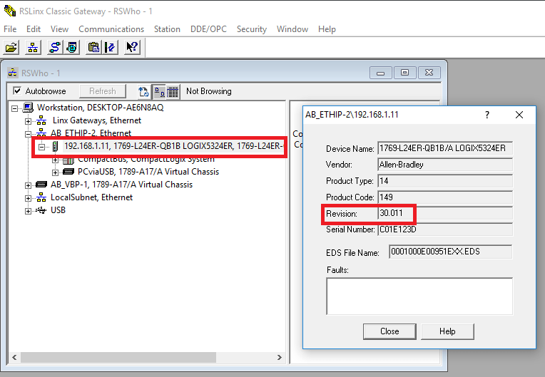 EtherNet RSLinx Driver Connection