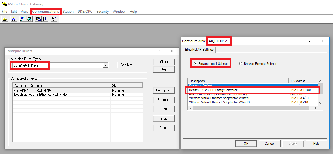 EtherNet RSLinx Driver Setup Example Tutorial