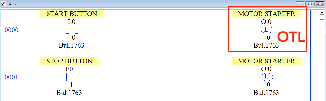 OTL Output Latch Instruction RSLogix 500