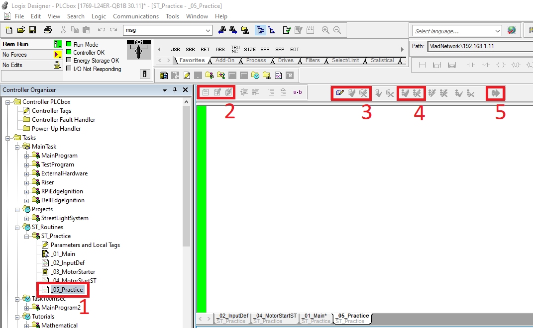 Structured Text programming interface in RSLogix Studio 5000 Allen Bradley Compact Logix PLC