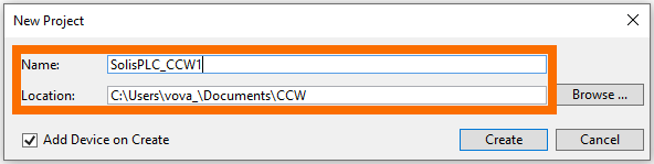 Connected Components Workbench - Project Name and File Location