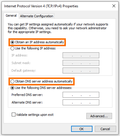 Network Adapter DHCP IP Settings