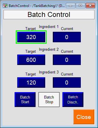 PLC Programming Project - HMI Main Screen Batching Contro