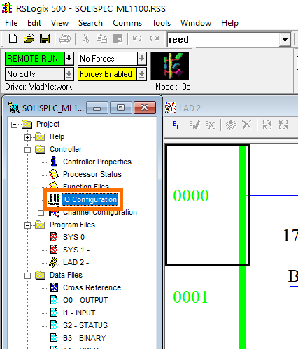 MicroLogix 1100 - RSLogix 500 IOConfiguration