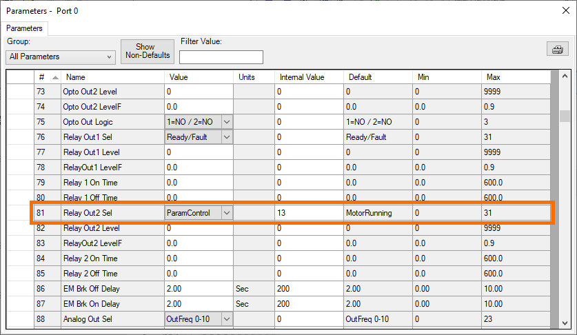 """PowerFlex 525 - """"81"""" Relay Out2 Sel Parameter Setting"""